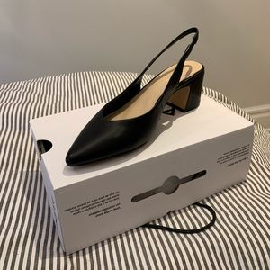 NWT - ALDO - Black Leather Sling back Heels - SZ 9